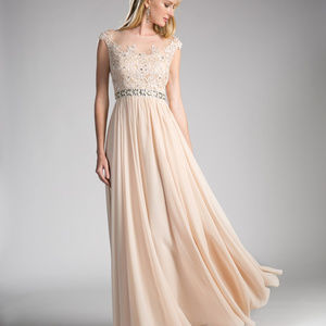 Champagne A-Line Prom Long Dress